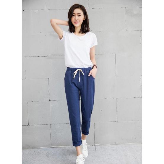 กางเกงขายาว ผ้า Cotton ลินิน รุ่น 1001 สีกรมท่า