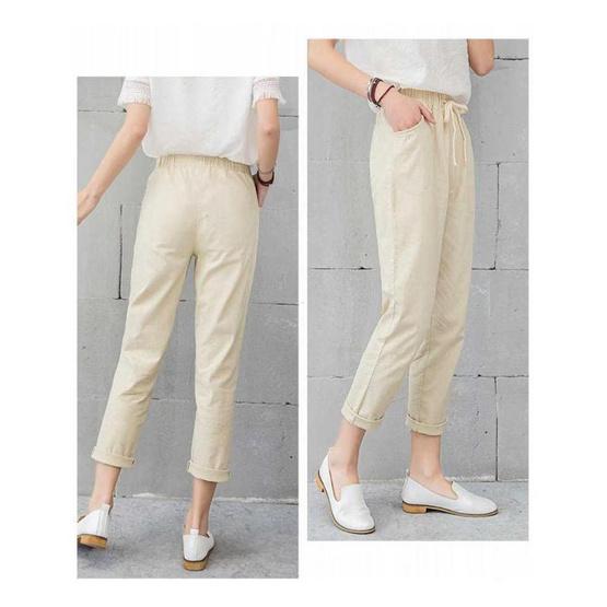 กางเกงขายาว ผ้า Cotton ลินิน รุ่น 1001 สีกากี