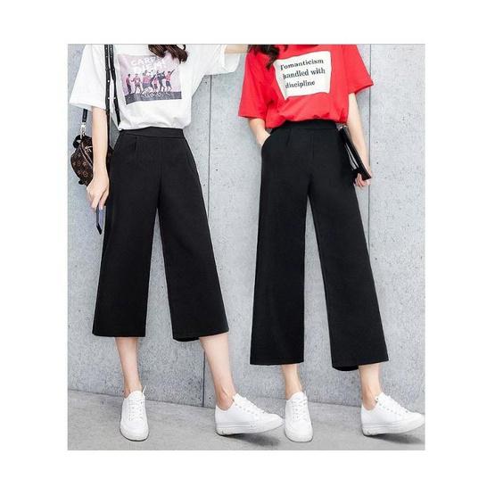 กางเกงผ้าฮานาโกะ ขา 4ส่วน 1456 สีดำ