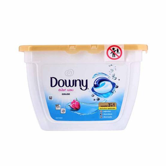 Downy เจลบอลซักผ้า ซันไรซ์ เฟรช สีฟ้า 356 กรัม 18 ชิ้น