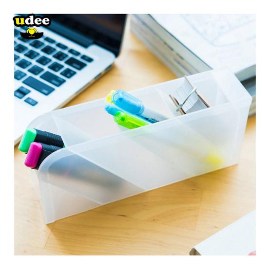 UDEE พลาสติกจัดเก็บ 4 ช่องอเนกประสงค์ สีขาวขุ่น(แพ็คคู่2ชิ้น)