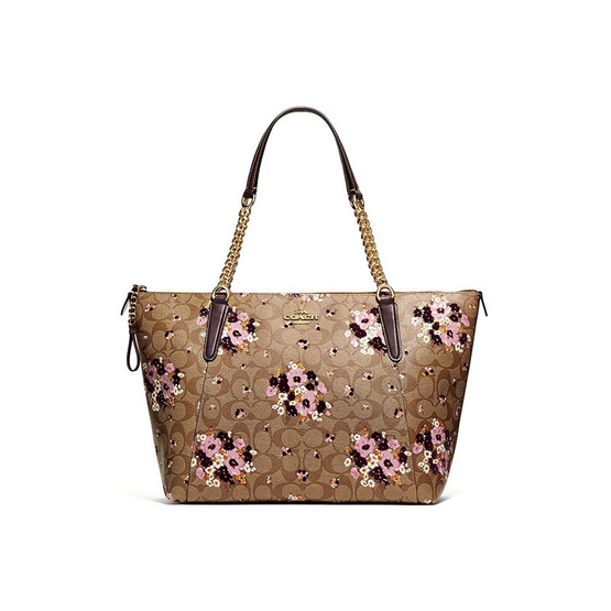 COACH กระเป๋า F32118 AVA CHAIN TOTE IN SIGNATURE CANVAS WITH FLORAL FLOCKING (IME7V) [MCF32118IME7V]