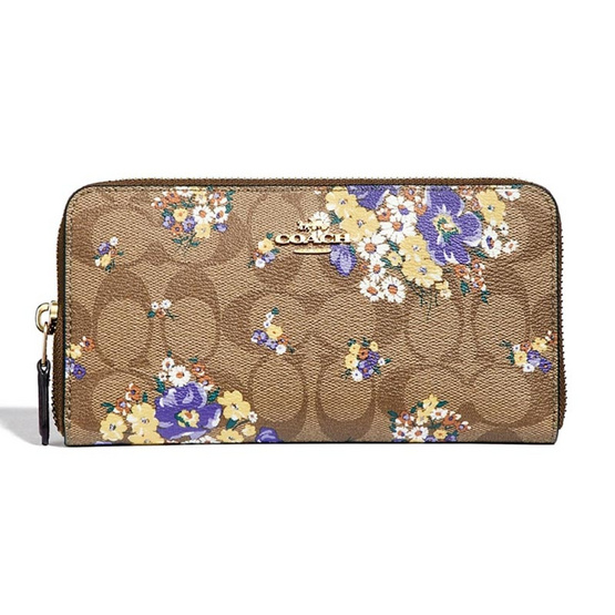 COACH กระเป๋า F31572 ACCORDION ZIP WALLET IN SIGNATURE CANVAS WITH MEDLEY BOUQUET PRINT (IME7V) [MCF31572IME7V]
