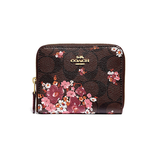 COACH กระเป๋า F31955 SMALL ZIP AROUND WALLET IN SIGNATURE CANVAS WITH MEDLEY BOUQUET PRINT (IMBMC) [MCF31955IMBMC]