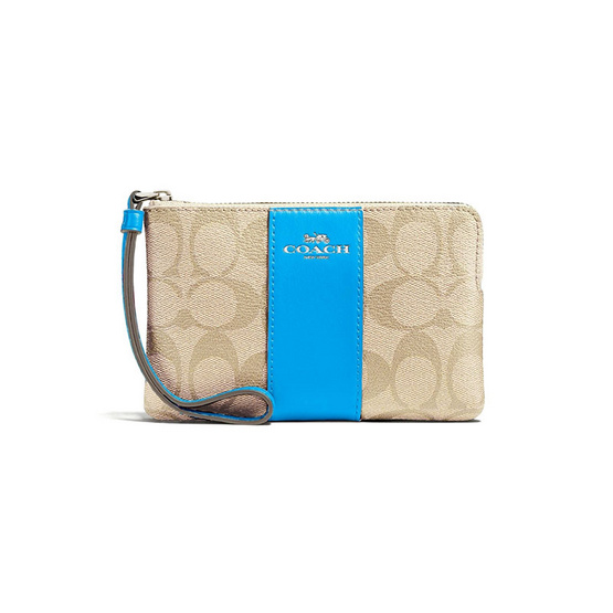 COACH กระเป๋า F58035 CORNER ZIP WRISTLET IN SIGNATURE COATED CANVAS WITH LEATHER STRIPE (SVNQX) [MCF58035SVNQX]