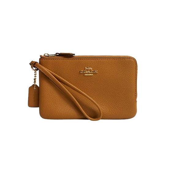COACH กระเป๋าคล้องมือสองซิป F87590 DOUBLE CORNER ZIP WALLET IN POLISHED PEBBLE LEATHER (IMLQD) [MCF87590IMLQD]