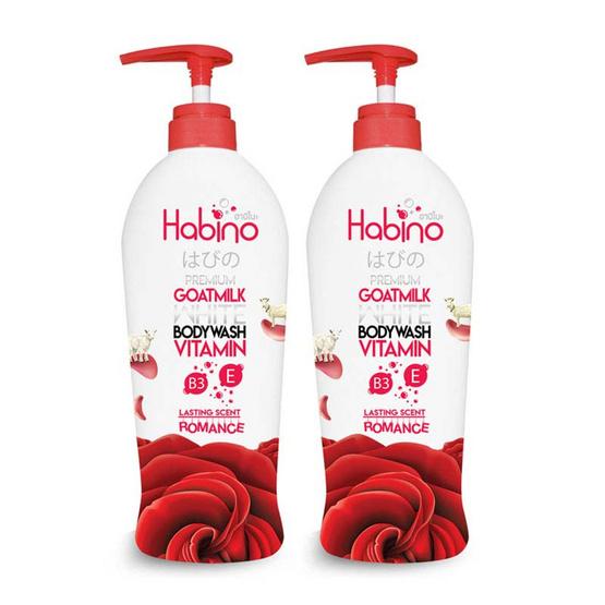 Habino Goatmilk Bodywash lasting scent Romance 500 ml Pack 2