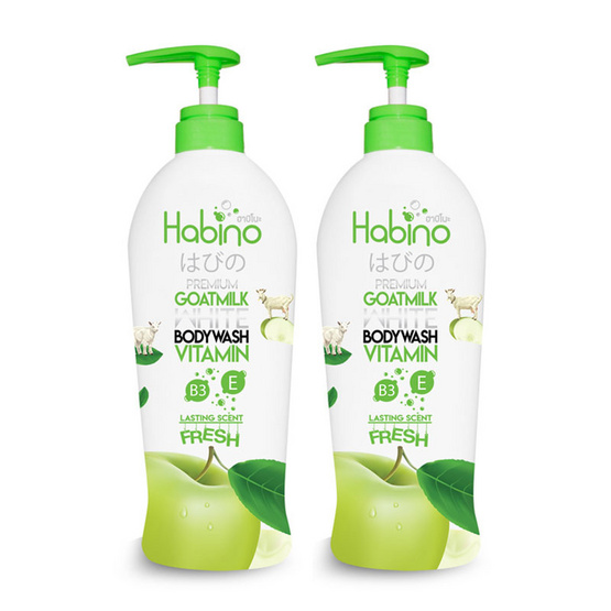 Habino Goatmilk Bodywash lasting scent Fresh 500 ml Pack 2