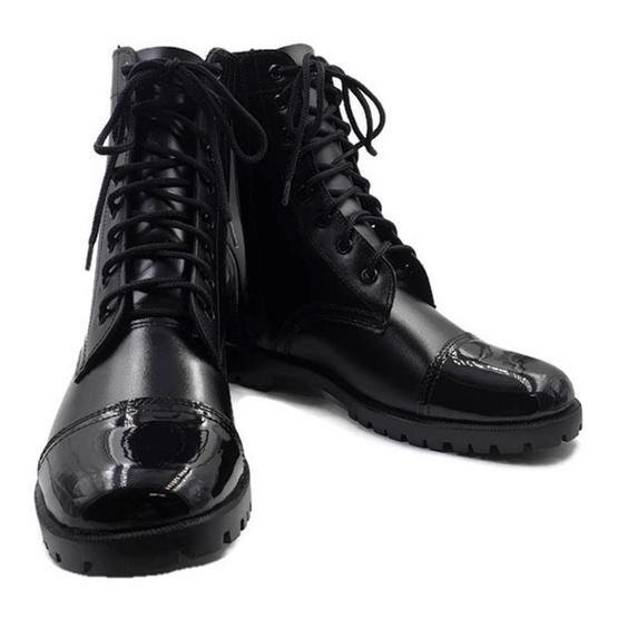 Copmine รองเท้าคอมแบทหนังแท้ หัวแก้ว ส้นแก้ว