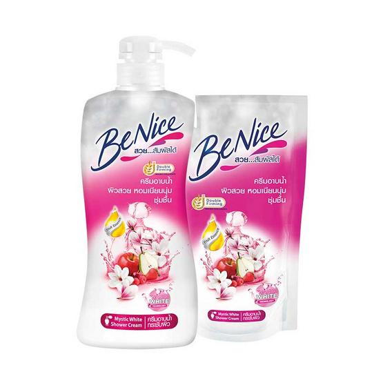 Be Nice ครีมอาบน้ำ กลิ่นมิซทิคไวท์ 450 มล. ขวดปั้ม + ถุงเติม 400 มล.