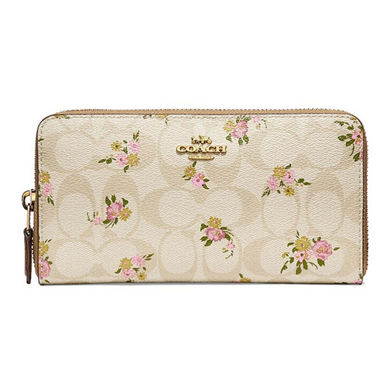 กระเป๋า COACH F31778 ACCORDION ZIP WALLET IN SIGNATURE CANVAS WITH DAISY BUNDLE PRINT (IMABT) [MCF31778IMABT]