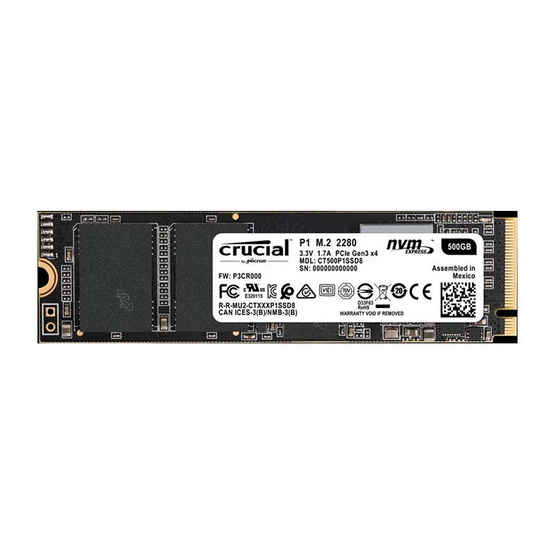Crucial SSD P1 3D NAND NVMe PCIe M.2 500 GB