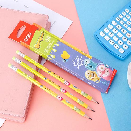 Deli ดินสอไม้ 2B ลายการ์ตูน Bumpees (12 แท่งในกล่อง)