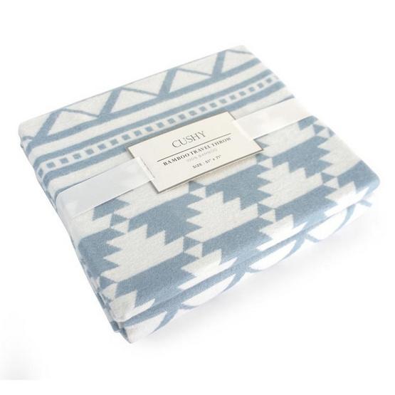 CUSHY ผ้าห่มใยไผ่แท้ 100% ลาย INDIAN-TAN-BLUE