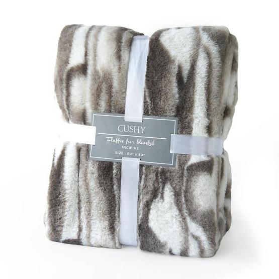 CUSHY ผ้าห่มลายขนสัตว์เส้นใยไมซิไฟน์ Fluffie Fur Blanket ลาย GRAY WOLF
