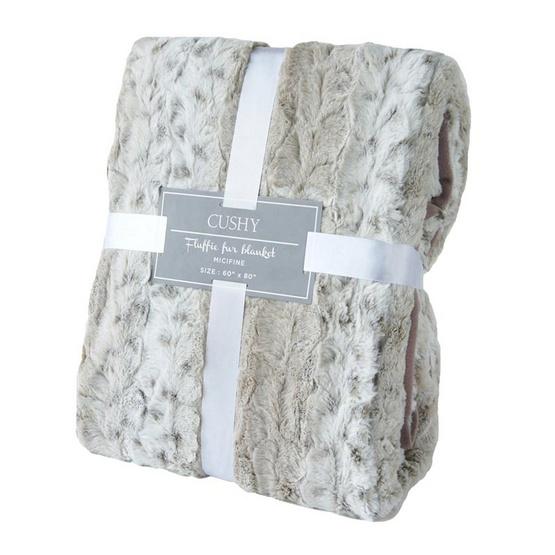 CUSHY ผ้าห่มลายขนสัตว์เส้นใยไมซิไฟน์ Fluffie Fur Blanket ลาย LEOPARD