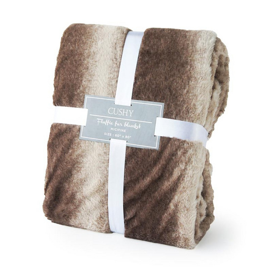 CUSHY ผ้าห่มลายขนสัตว์เส้นใยไมซิไฟน์ Fluffie Fur Blanket ลาย RUSA DEAR