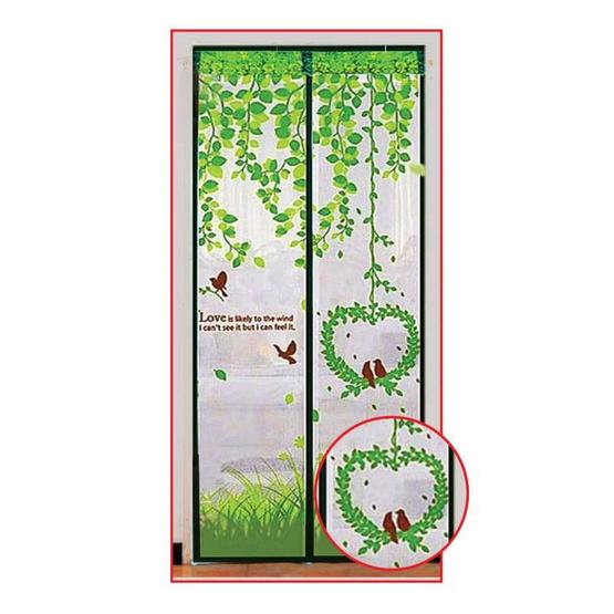 ม่านกันยุงและแมลง ลายนกคู่รัก สีเขียว 90 x 210 ซม. แพ็กคู่