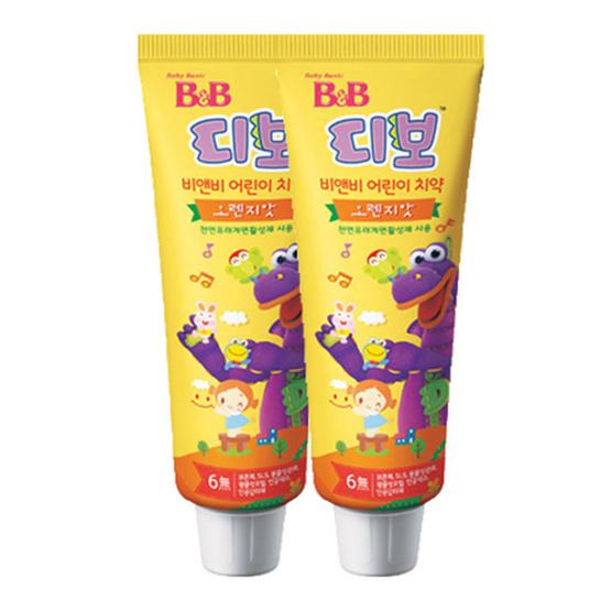 บีแอนด์บี ยาสีฟันผสมฟลูออไรด์ สำหรับเด็ก ชนิดเจล-รสส้ม (2 หลอด / แพ็ค)