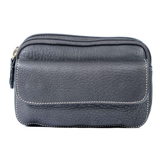 MOONLIGHT กระเป๋าใส่โทรศัพท์มือถือ หนังแท้ รุ่น James คาดเข็มขัด ใส่ iPhone, Samsung ขนาดใหญ่ได้