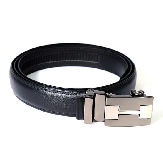 MOONLIGHT เข็มขัดหนังแท้ สำหรับผู้ชาย สีดำ แบบ Auto Locking หัวเข็มขัดลาย H-1