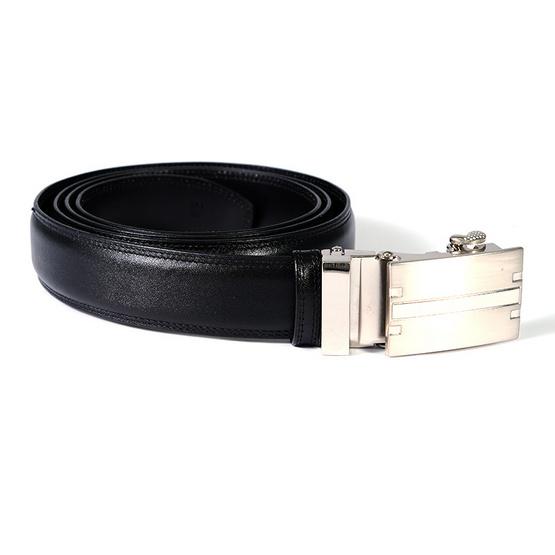 MOONLIGHT เข็มขัดหนังแท้ สำหรับผู้ชาย สีดำ แบบ Auto Locking หัวเข็มขัดลาย H-3
