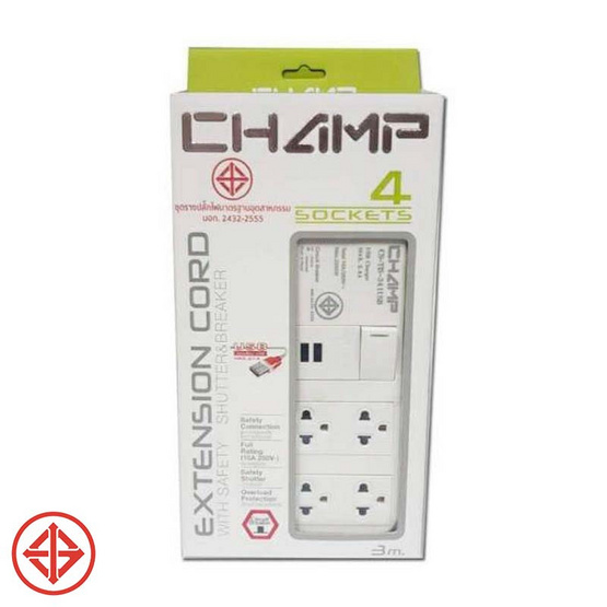 Champ ปลั๊กไฟเซฟตี้ 4 ช่อง / 1 สวิตซ์ / 2USB / 3 เมตร รุ่น ct-tis 341-2u/3 m