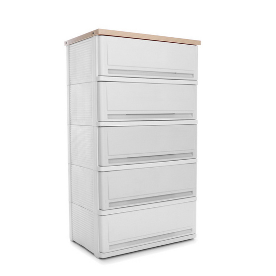 OA Furniture ตู้ลิ้นชักพลาสติก SUMO WOODTOP 5 ชั้น สีเมเปิ้ล