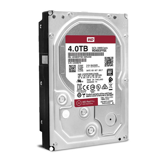 "WD Red Pro 3.5"" HDD NAS SATA3(6Gb/s) 256MB 7200RPM 4 TB (WD4003FFBX)"