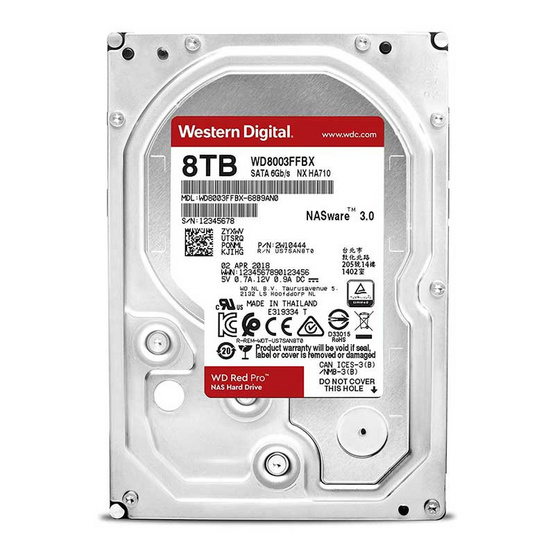 "WD Red Pro 3.5"" HDD NAS SATA3(6Gb/s) 256MB 7200RPM 8 TB (WD8003FFBX)"