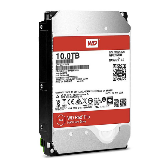 "WD Red Pro 3.5"" HDD NAS SATA3(6Gb/s) 256MB 7200RPM 10 TB (WD101KFBX)"