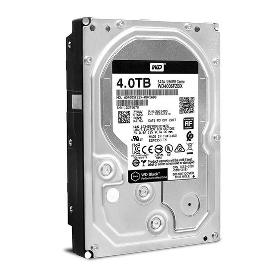 """WD Caviar Black 3.5"""" HDD SATA (6Gb/s) 256MB 7200RPM 4 TB (WD4005FZBX)"""