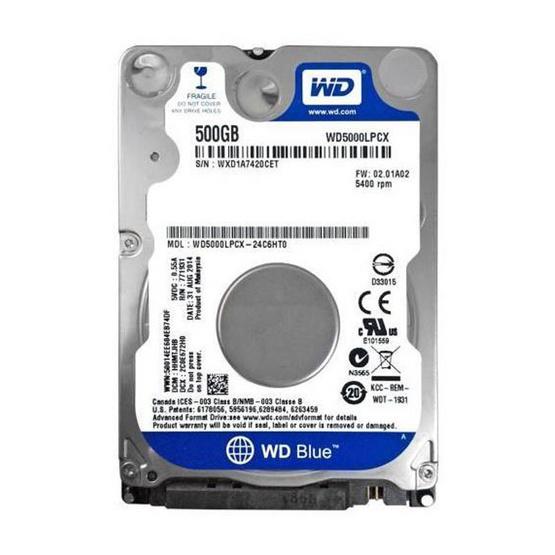 """WD Scorpio Blue 2.5"""" HDD SATA3 (6Gb/s) 16MB 5400RPM 500 GB (WD5000LPCX)"""