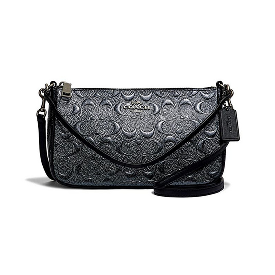 กระเป๋า COACH F39734 TOP HANDLE POUCH IN SIGNATURE LEATHER (QBCHR) [MCF39734QBCHR]
