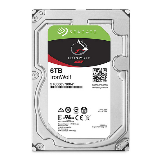 """Seagate IronWolf NAS HDD 3.5"""" 7200 RPM 128MB SATA 6GB/s (ST6000VN0041) 6TB"""
