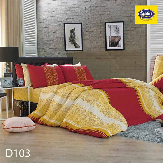 Satin ผ้านวม + ผ้าปูที่นอน 6 ฟุต 6 ชิ้น ลาย D103