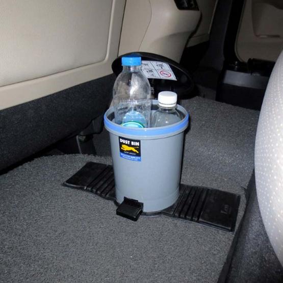 LEOMAX ถังขยะติดรถยนต์ รุ่นทรงกลม รุ่นมีขาเหยียบเปิดฝา (สีเทา)