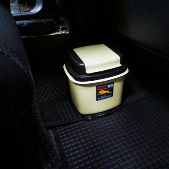 LEOMAX ถังขยะติดรถยนต์ รุ่นสี่เหลี่ยมเตี้ย LION สีครีม