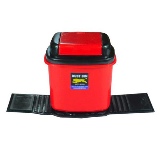 LEOMAX ถังขยะติดรถยนต์ รุ่นสี่เหลี่ยมเตี้ย LION สีแดง
