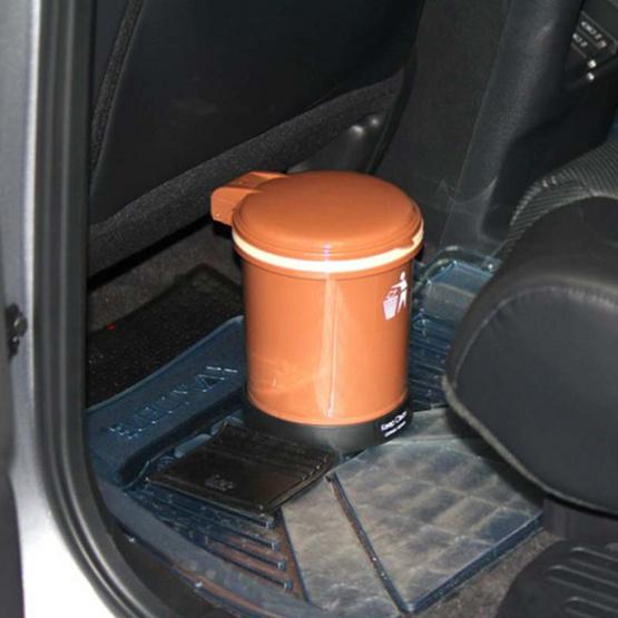 LEOMAX ถังขยะติดรถยนต์ รุ่นทรงกลม สีน้ำตาลโกโก้