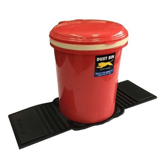 LEOMAX ถังขยะติดรถยนต์ รุ่นทรงกลม (สีแดง)