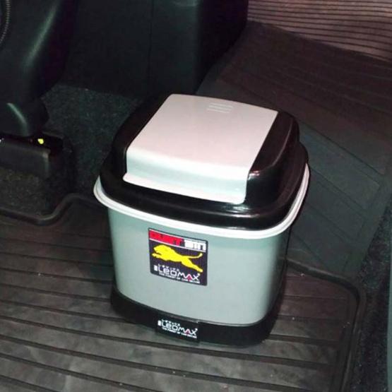 LEOMAX ถังขยะติดรถยนต์ พร้อมพื้นฐานถ่วงน้ำหนัก รุ่น TINY สีเทา
