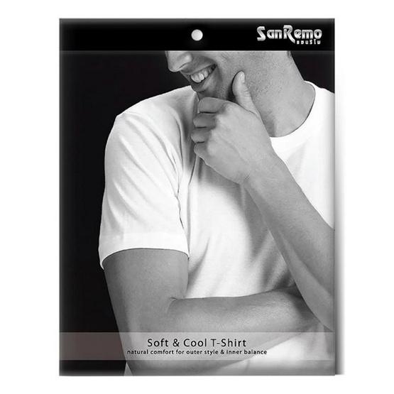 Sanremo แซนรีโม เสื้อแขนสั้นคอวี Combed Cotton Pack 2 ตัว รุ่น NIS-SCA2