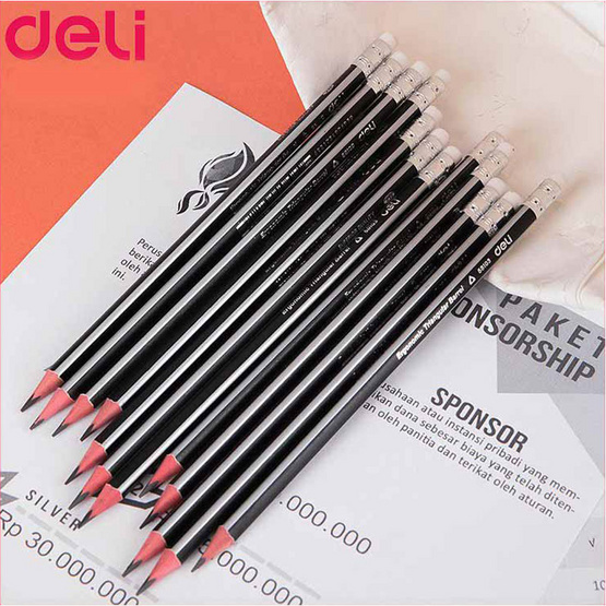 Deli เซ็ทดินสอไม้สามเหลี่ยม2B + เครื่องเหลาดินสอแฟนซี (คละสี)