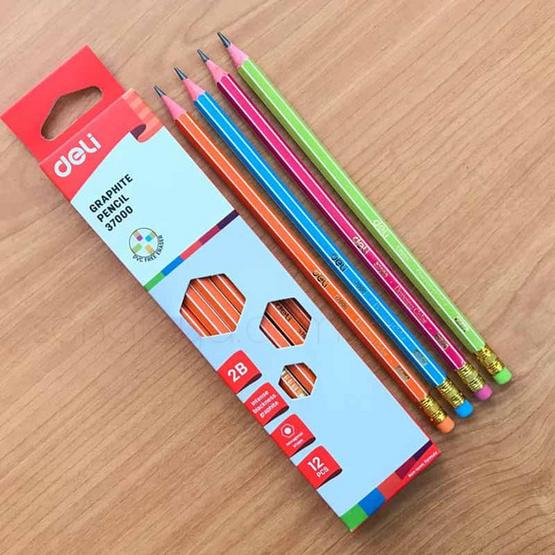Deli เซ็ทดินสอไม้2B + ชุดเรขาคณิต (คละลายคละสี)