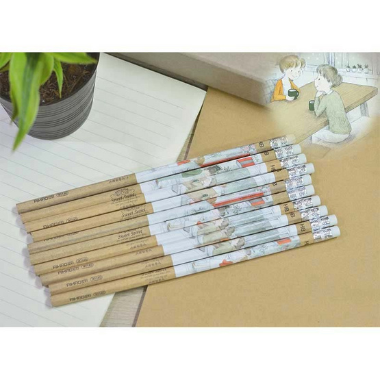 Aihao เซ็ทดินสอไม้ HB + กบเหลาดินสอ3in1 (คละสี)