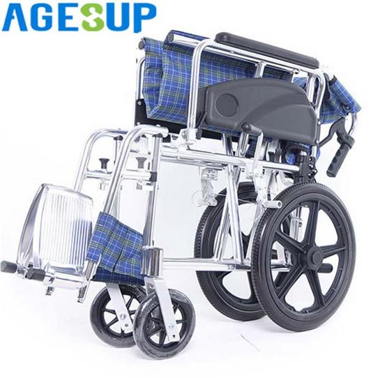 Agesup รถเข็นวีลแชร์สำหรับผู้ป่วยและคนชรา สามารถพับได้ เบาะลายสก๊อตสีน้ำเงิน รุ่น MG1A