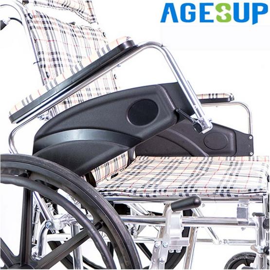 Agesup รถเข็นวีลแชร์ปรับนอน สำหรับผู้ป่วยและคนชรา สามารถพับได้ สีน้ำตาลลายสก๊อต รุ่น Bed-S
