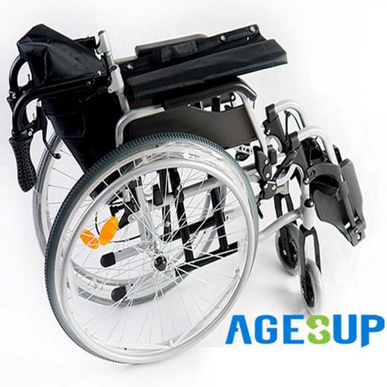 Agesup รถเข็นล้อใหญ่ 24 นิ้ว สำหรับผู้ป่วยและคนชรา พับได้และถอดเก็บได้ 5 ชิ้นส่วน สีดำ รุ่นXL-103