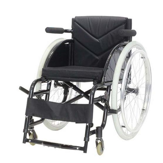 Agesup รถเข็นวีลแชร์ล้อใหญ่ 24 นิ้ว สำหรับผู้ป่วยและคนชรา สามารถพับได้ สีดำ รุ่น Blackmoon